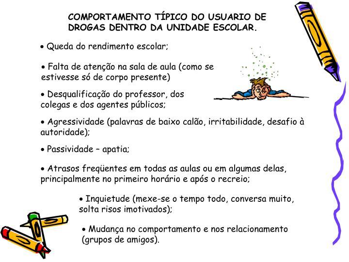 COMPORTAMENTO TÍPICO DO USUARIO DE DROGAS DENTRO DA UNIDADE ESCOLAR.