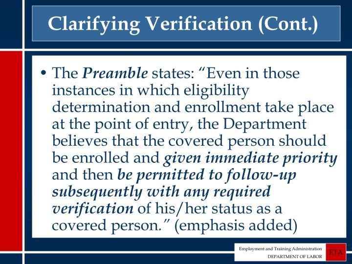 Clarifying Verification (Cont.)