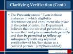 clarifying verification cont