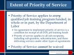 extent of priority of service