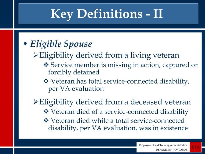 Key Definitions - II