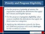 priority and program eligibility