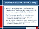 two definitions of veteran cont