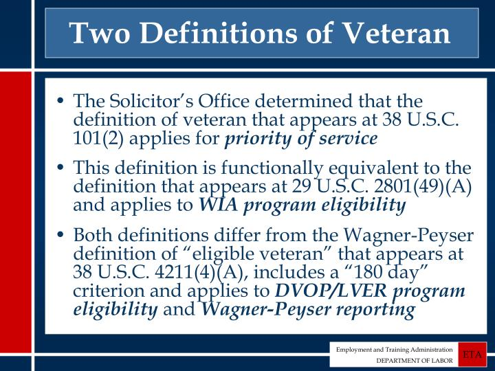 Two Definitions of Veteran