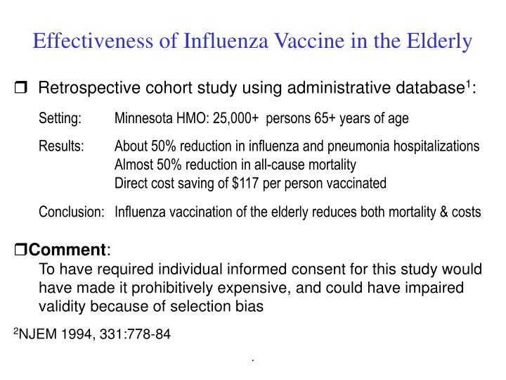 Effectiveness of Influenza Vaccine in the Elderly