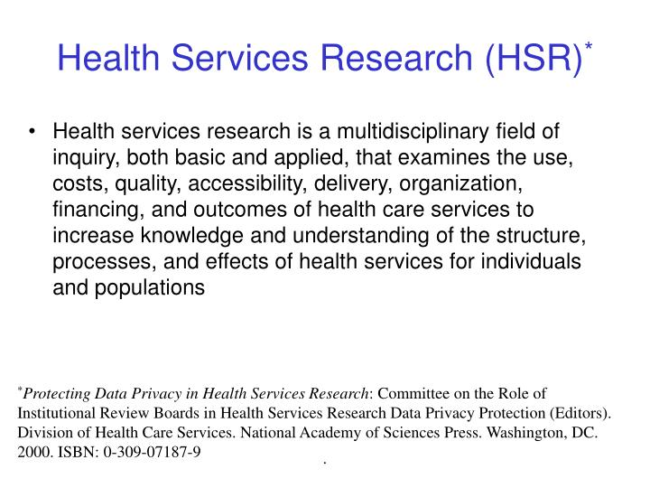 Health services research hsr