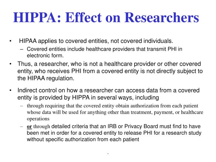 HIPPA: Effect on Researchers
