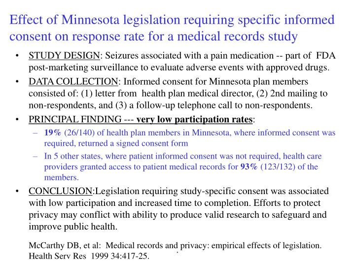Effect of Minnesota legislation requiring specific informed consent on response rate for a medical records study