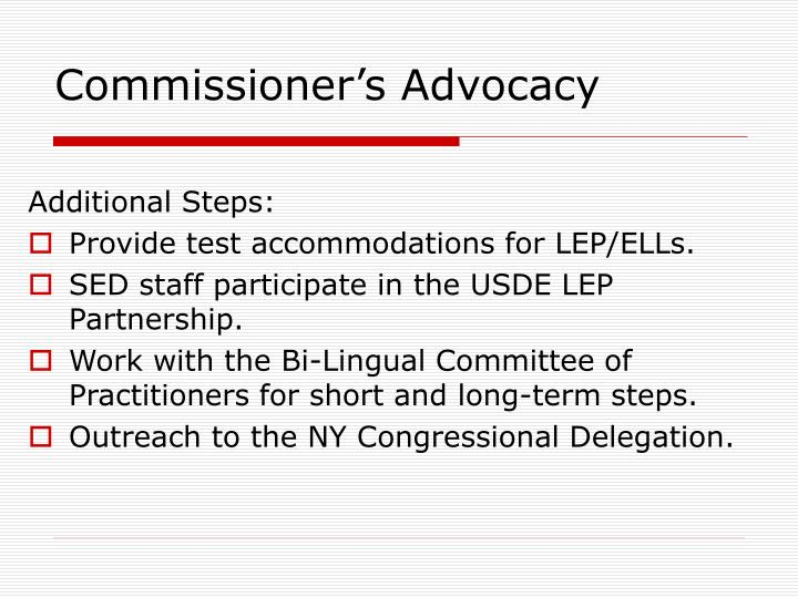 Commissioner's Advocacy