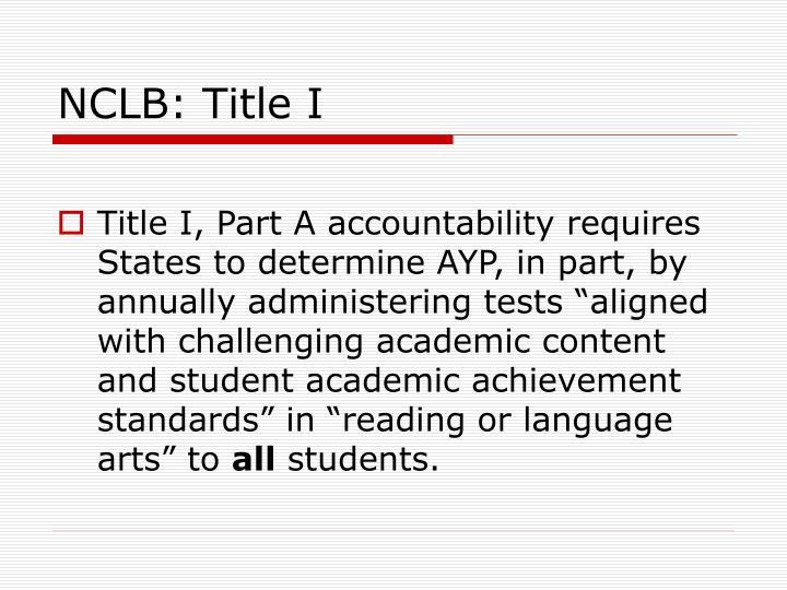 NCLB: Title I