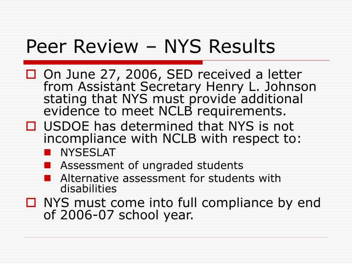 Peer Review – NYS Results
