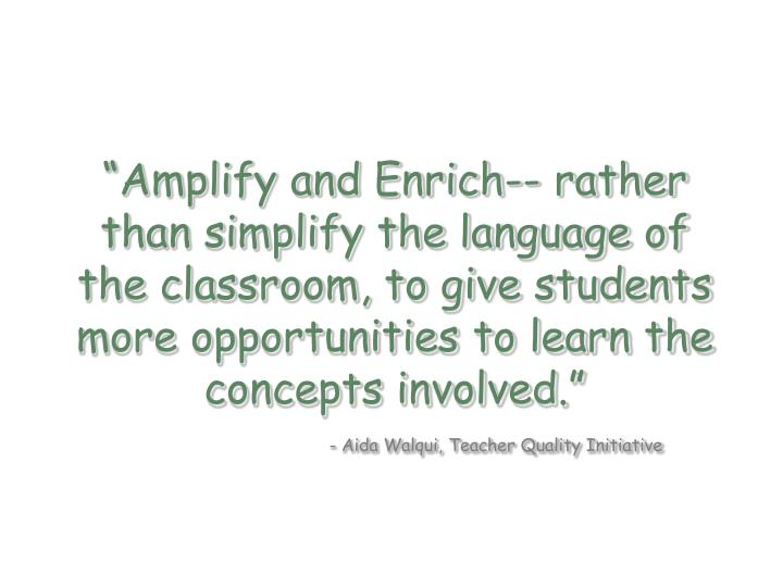 """Amplify and Enrich-- rather than simplify the language of the classroom, to give students more opportunities to learn the concepts involved."""