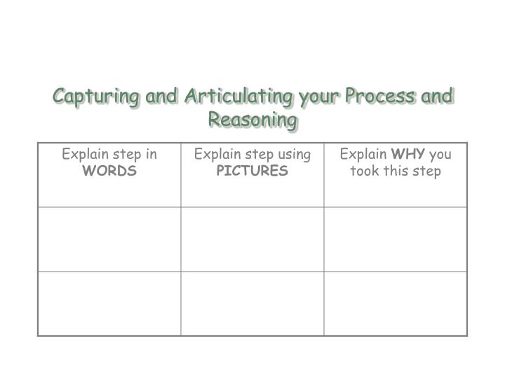 Capturing and Articulating your Process and Reasoning