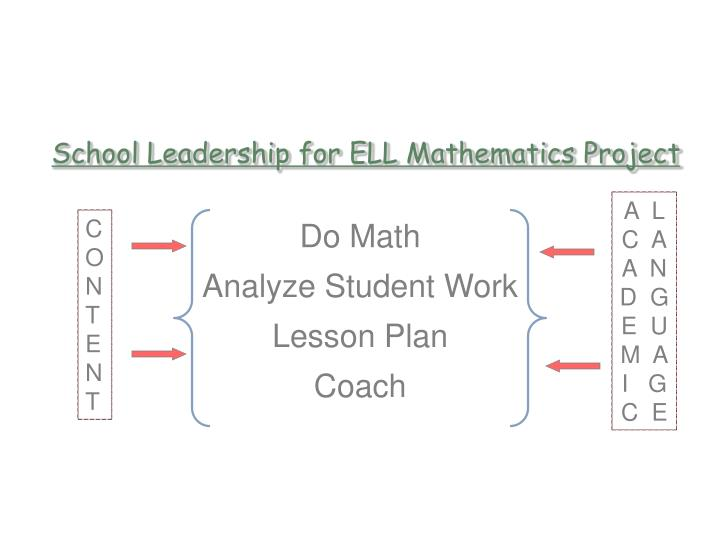 School Leadership for ELL Mathematics Project