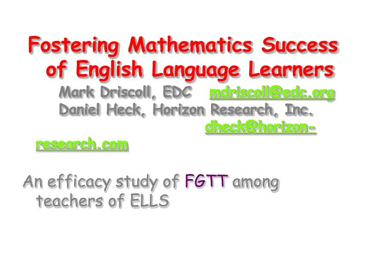 Fostering Mathematics Success of English Language Learners