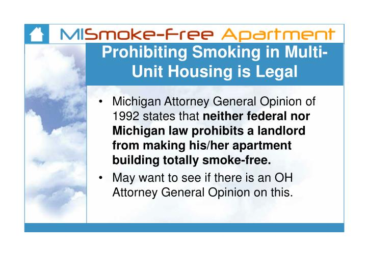 Prohibiting Smoking in Multi-Unit Housing is Legal