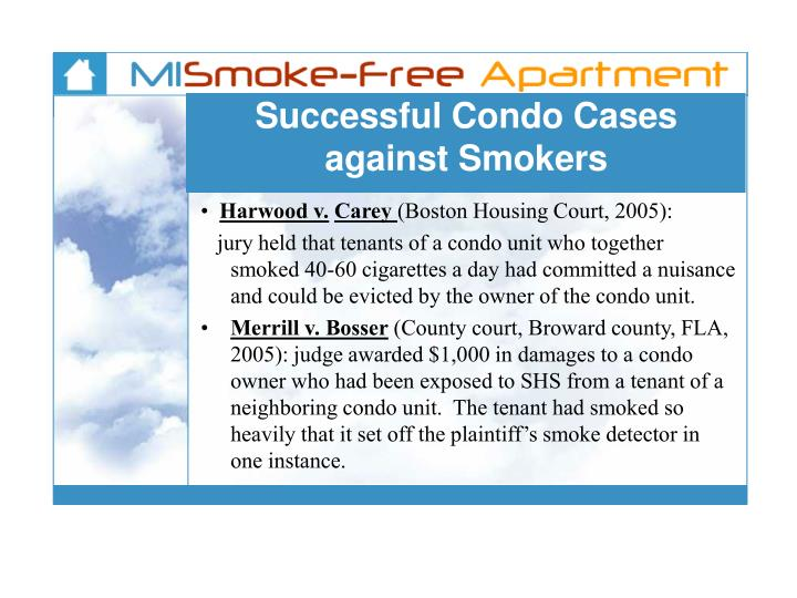 Successful Condo Cases against Smokers
