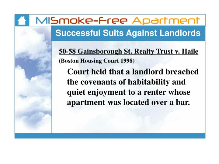 Successful Suits Against Landlords