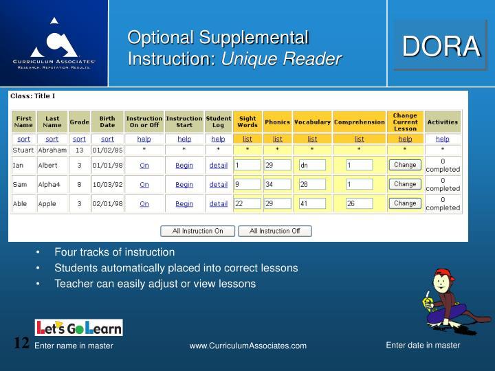 Optional Supplemental Instruction: