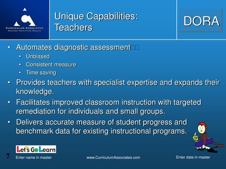 Unique Capabilities:  Teachers