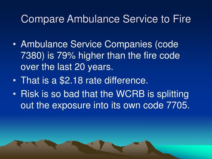 Compare Ambulance Service to Fire