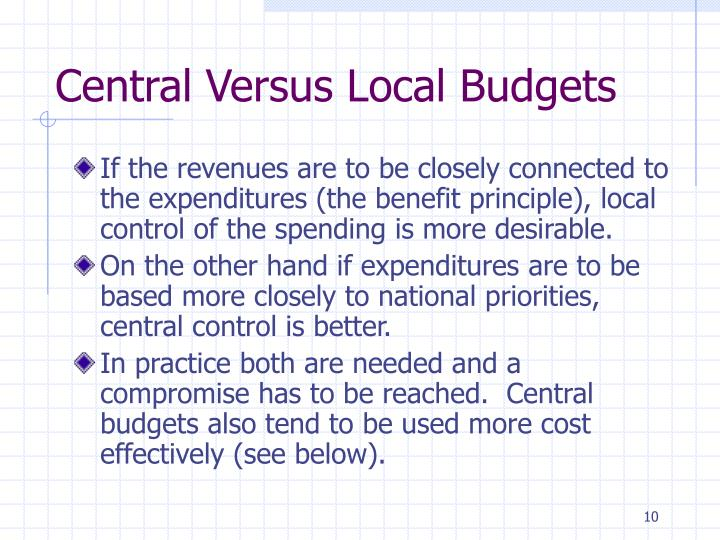 Central Versus Local Budgets