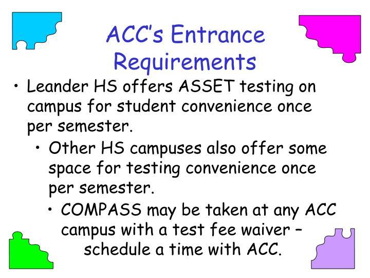 ACC's Entrance Requirements