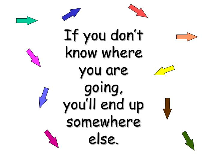 If you don't know where you are going,   you'll end up somewhere else.
