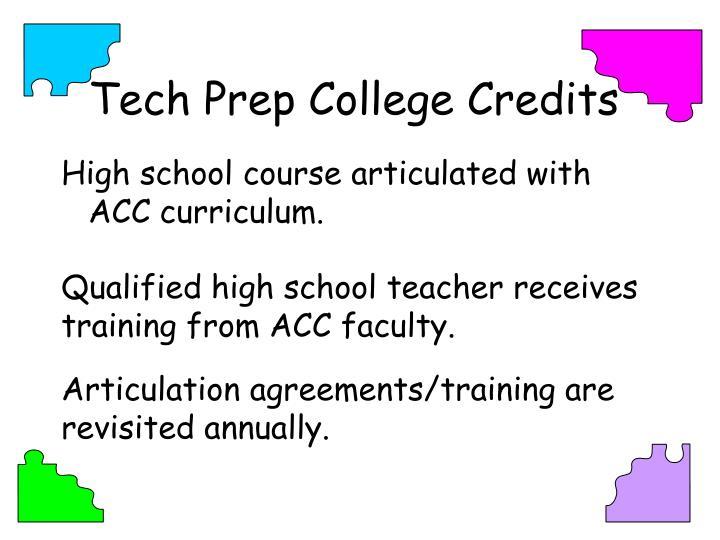 Tech Prep College Credits
