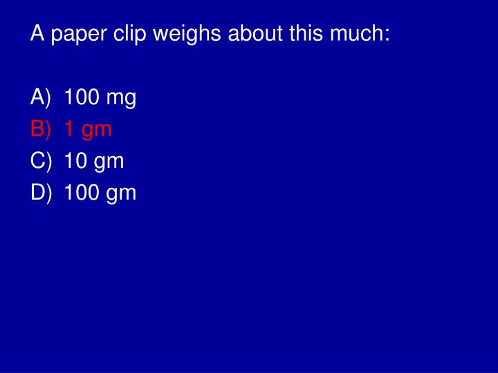 A paper clip weighs about this much: