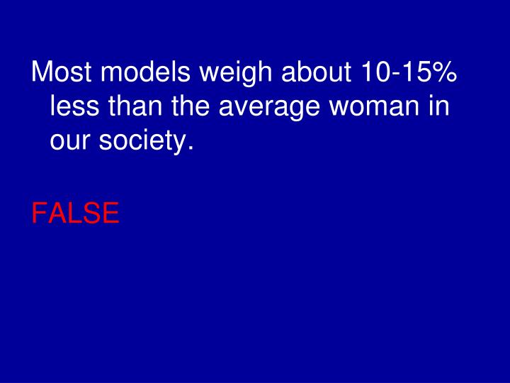 Most models weigh about 10-15% less than the average woman in our society.