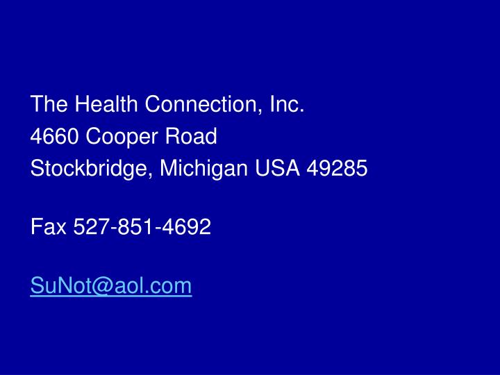 The Health Connection, Inc.