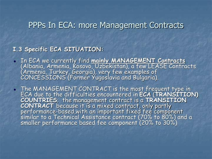 PPPs In ECA: more Management Contracts