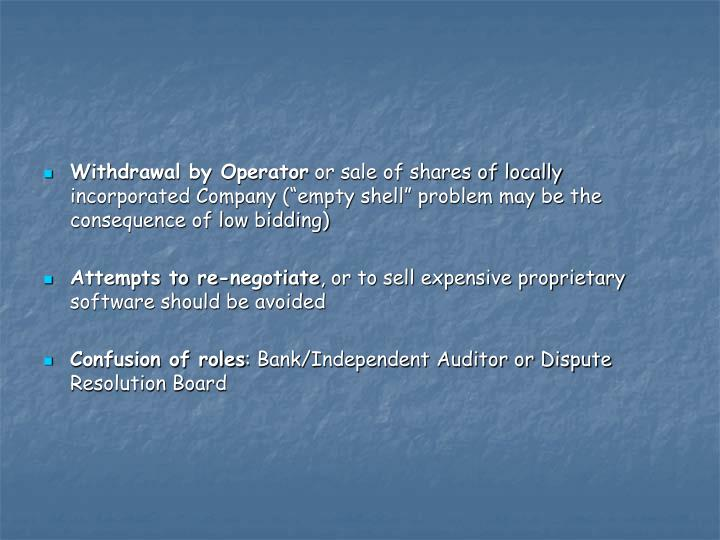 Withdrawal by Operator