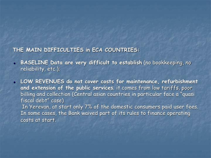 THE MAIN DIFFICULTIES in ECA COUNTRIES: