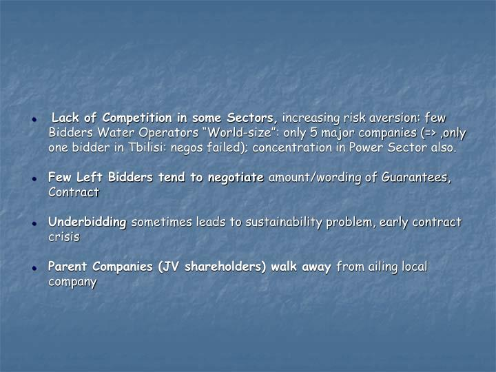 Lack of Competition in some Sectors,