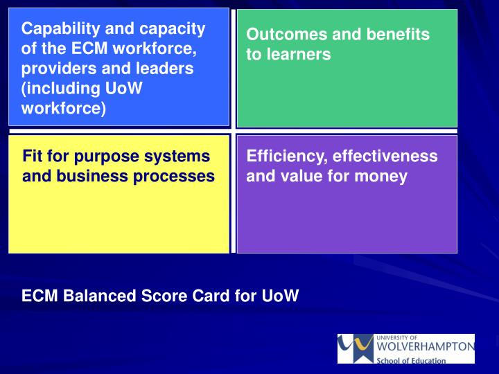 Capability and capacity of the ECM workforce, providers and leaders (including UoW workforce)