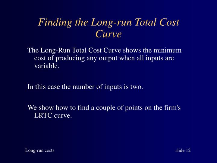 Finding the Long-run Total Cost Curve