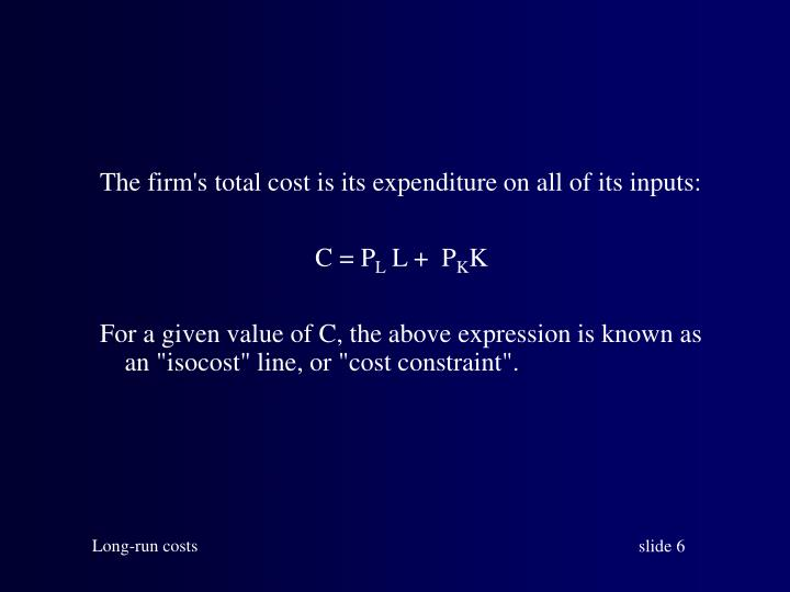 The firm's total cost is its expenditure on all of its inputs: