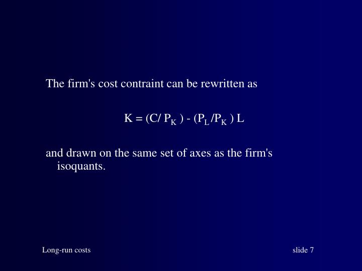 The firm's cost contraint can be rewritten as