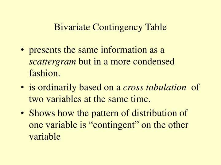 Bivariate Contingency Table