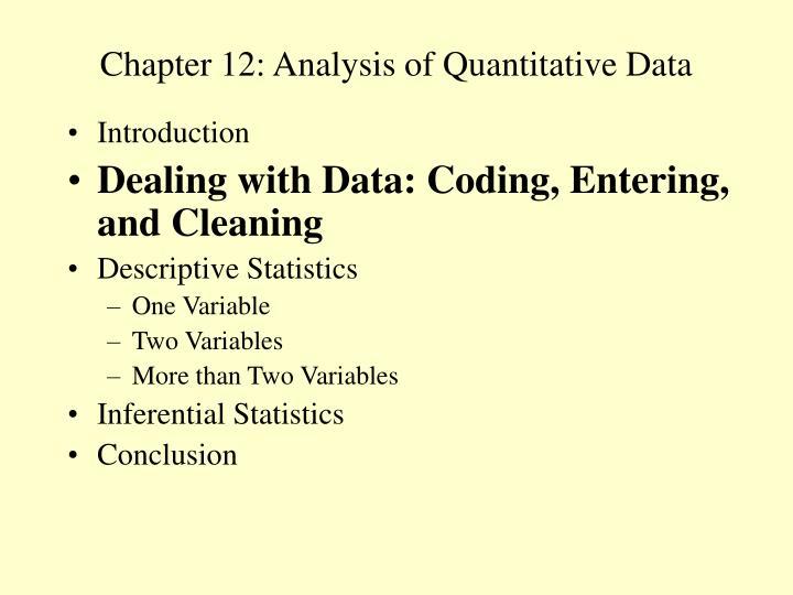 Chapter 12: Analysis of Quantitative Data