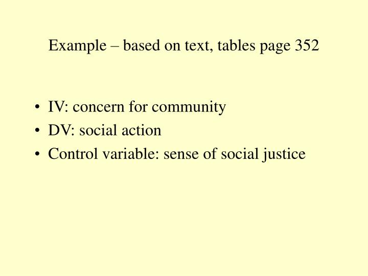 Example – based on text, tables page 352