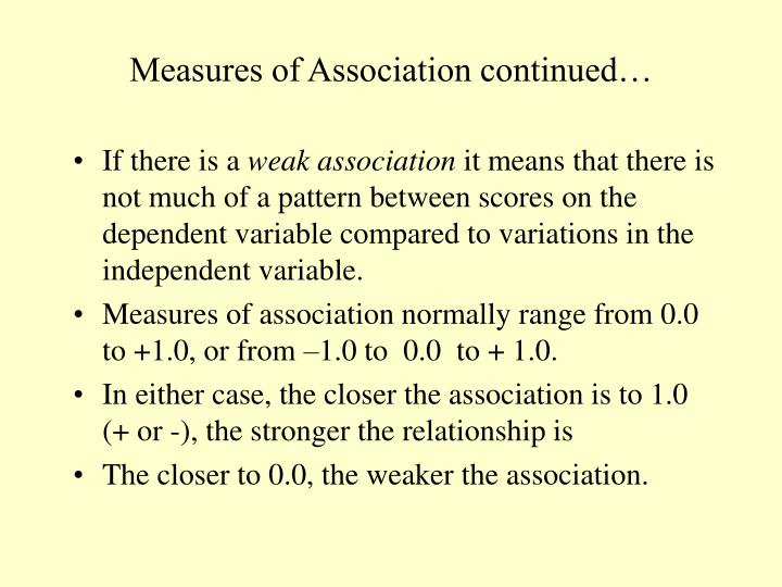 Measures of Association continued…