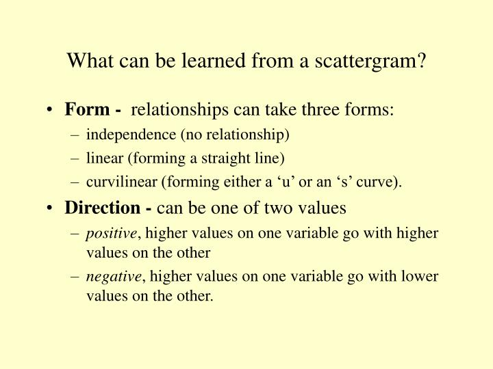What can be learned from a scattergram?