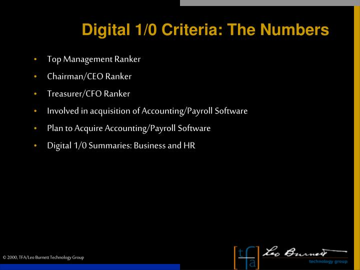 Digital 1/0 Criteria: The Numbers