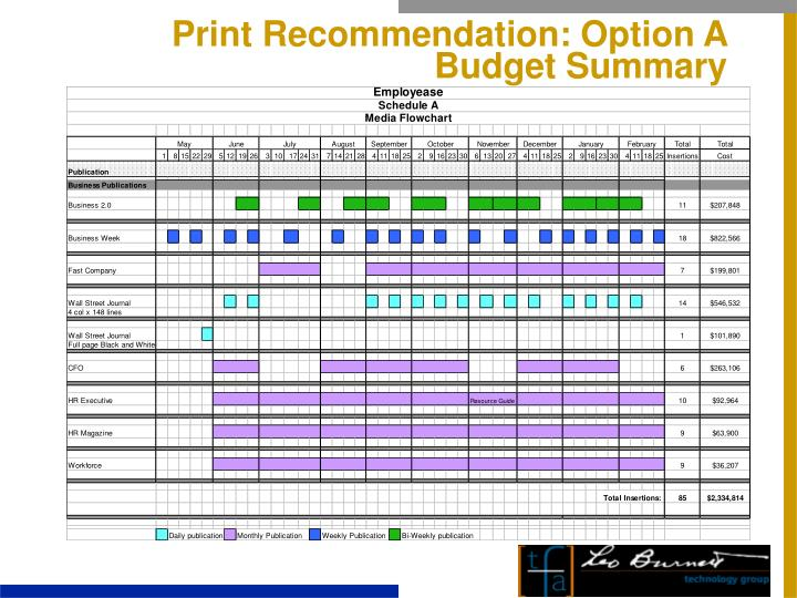 Print Recommendation: Option A Budget Summary