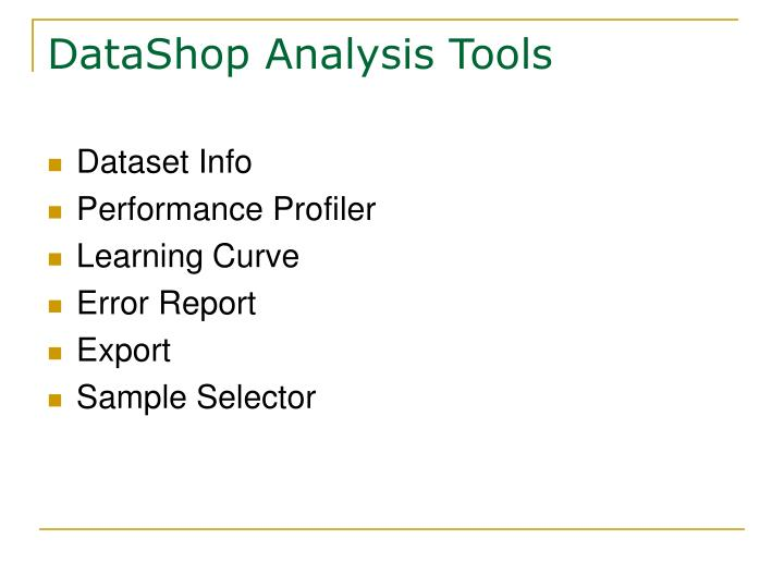 DataShop Analysis Tools
