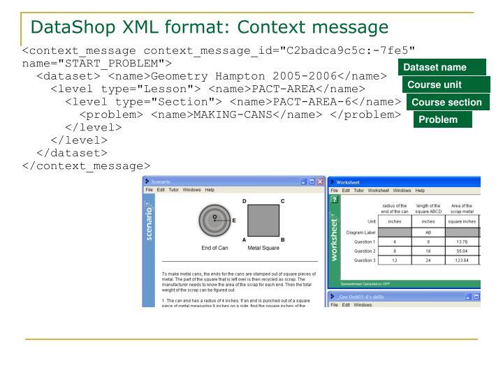 DataShop XML format: Context message