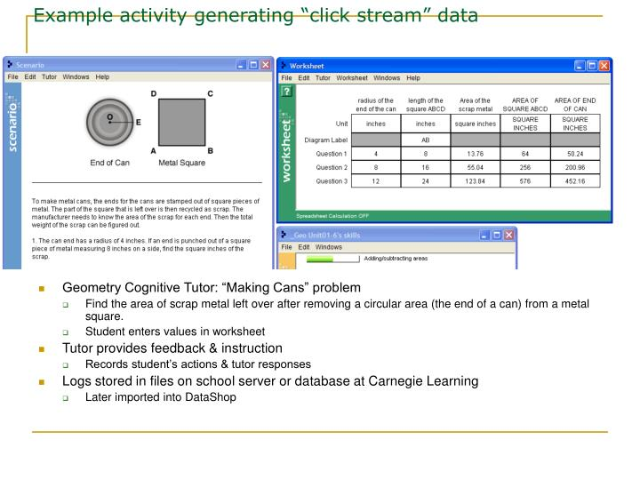 "Example activity generating ""click stream"" data"